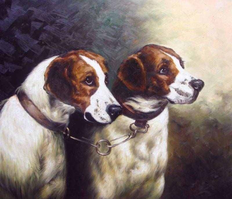 HUNTING DOGS PET PORTRAIT OIL PAINTING