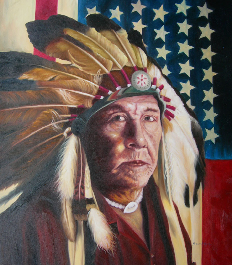 NATIVE AMERICA INDIAN CHIEF AMERICAN FLAG OIL PAINTING