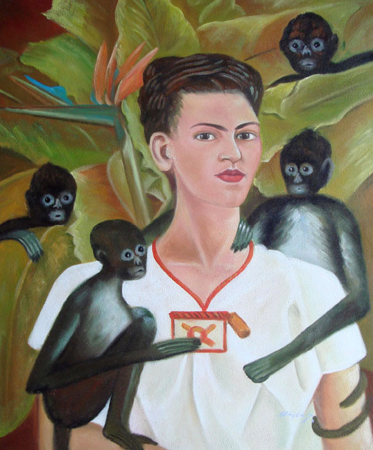 FRIDA KAHLO WITH MONKEYS MEXICAN ART OIL PAINTING
