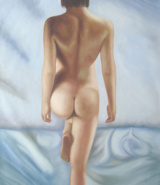 WOMAN'S BEAUTY NUDE BACKSIDE OIL PAINTING