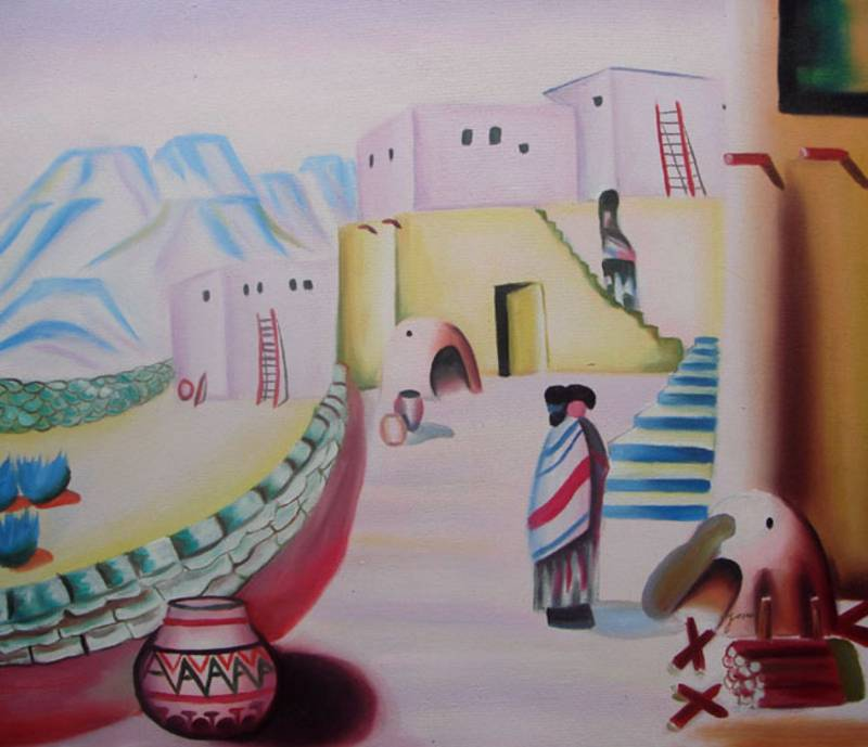INDIAN VILLAGE, NATIVE AMERICAN ART  OIL PAINTING