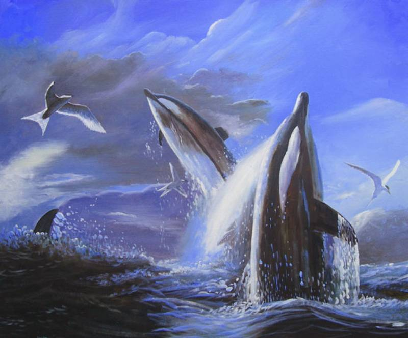 LIFE OF A WHALE MARINE WILDLIFE OIL PAINTING