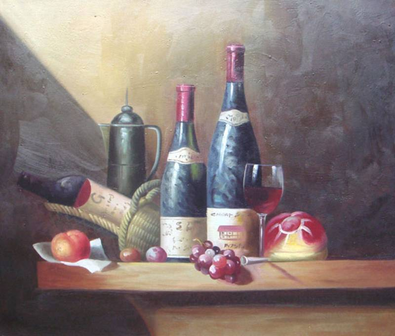WINE LOVER STILL LIFE WINE BOTTLES OIL PAINTING