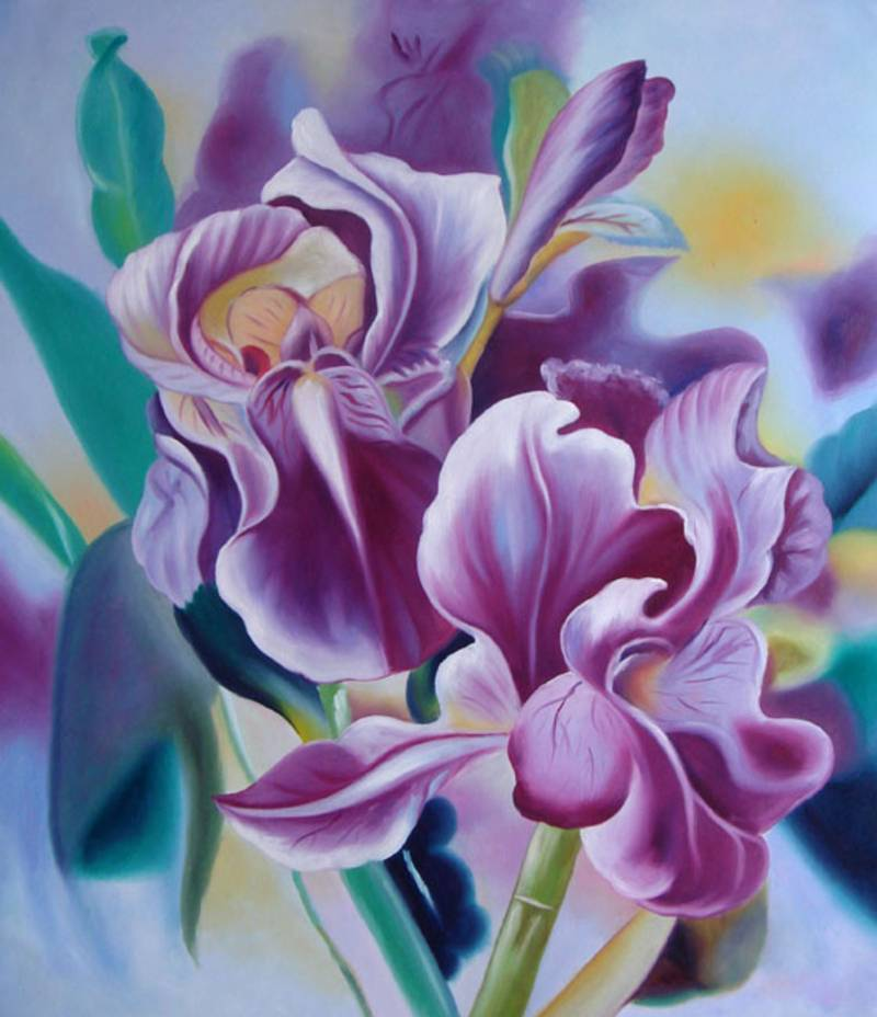 MODERN PURPLE FLOWER O'KEEFE STYLE OIL PAINTING