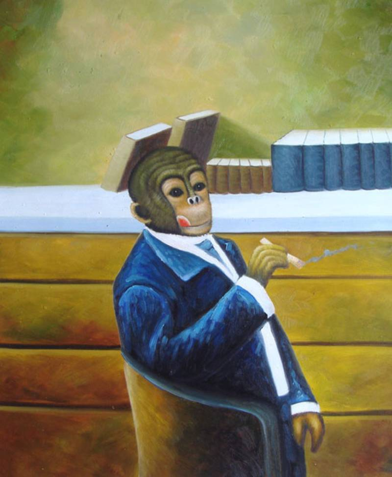 SMOKING MONKEY IN SUIT WHIMSICAL  OIL PAINTING