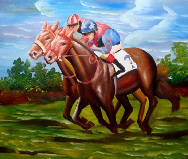 RACING HORSE BACK RIDING SPORTS OIL PAINTING