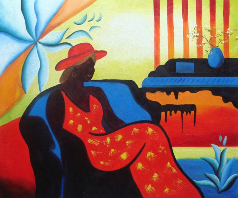 BLACK LADY MODERN ART AFRICAN AMERICAN OIL PAINTING