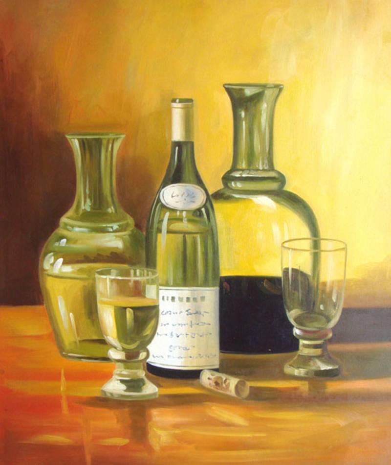 Oil paintings frames for Painting of a wine bottle