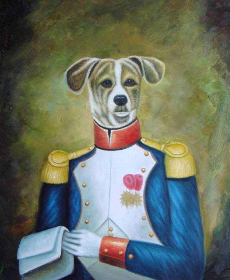 DOG GENERAL IN UNIFORM WHIMSICAL OIL PAINTING