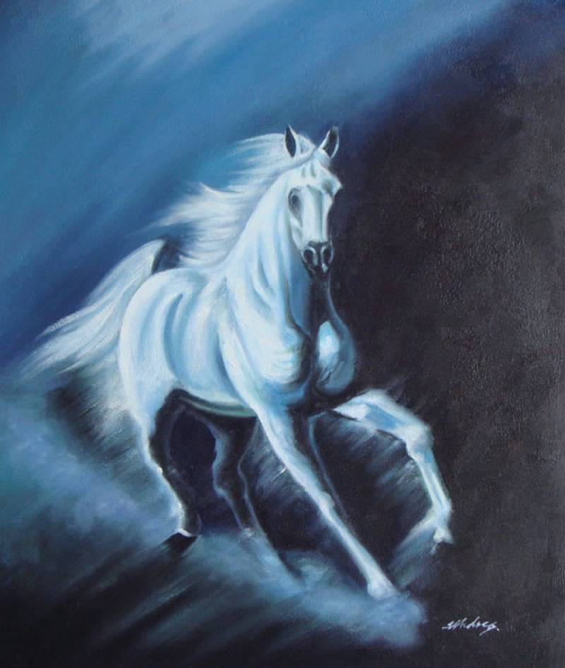 GALLOPING TO FREEDOM BEAUTIFUL HORSE OIL PAINTING