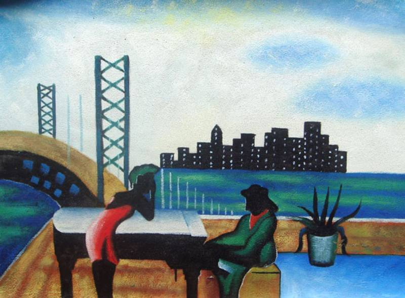 URBAN MUSICIANS BLACK ART JAZZ AFRICAN AMERICAN OIL PAINTING