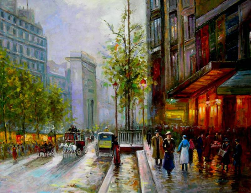 EUROPEAN LIFE CLASSIC PARIS CITYSCAPE OIL PAINTING
