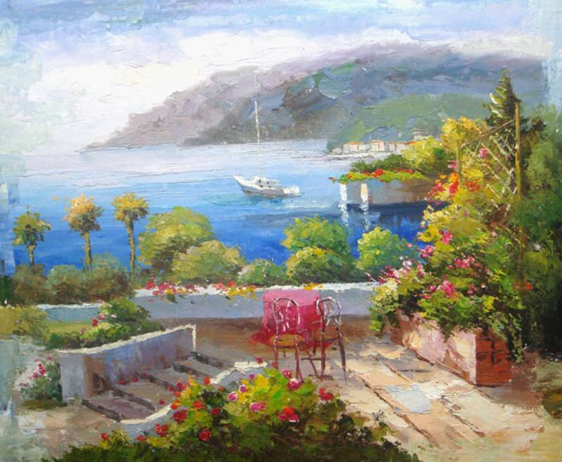 FRENCH RIVIERA MEDITERRANEAN EUROPE OIL PAINTING