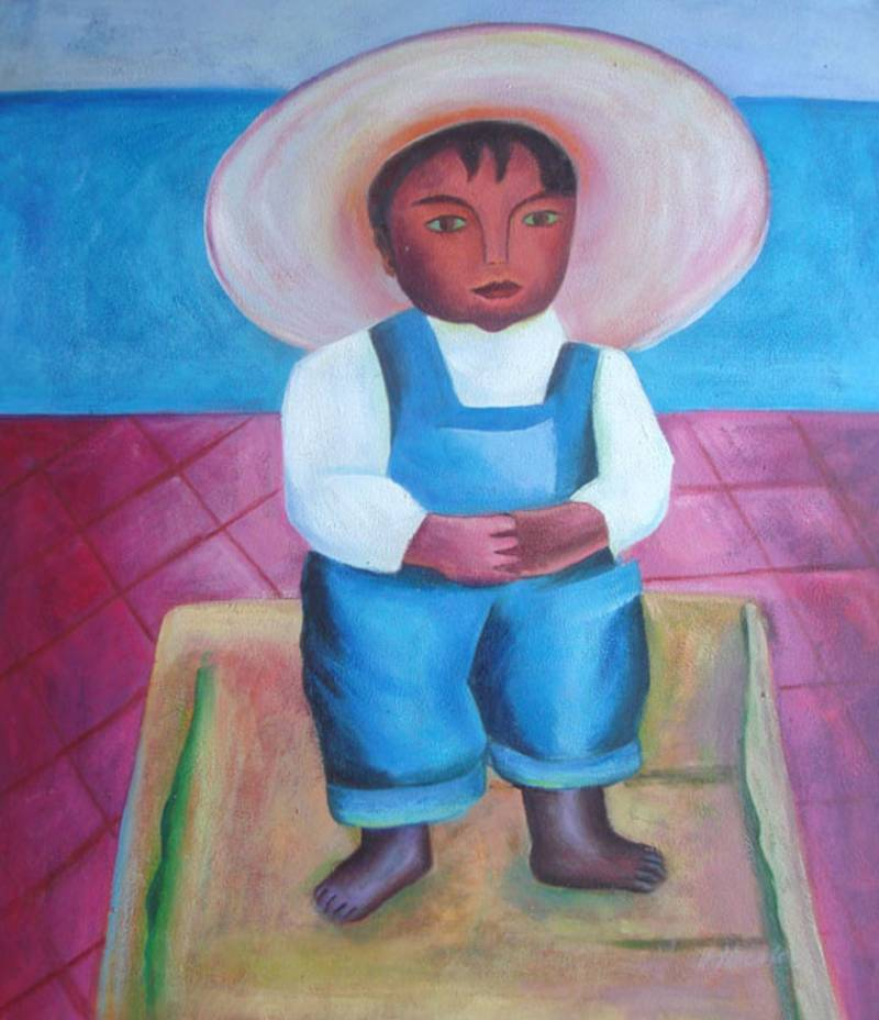 SOMBRERO BOY MEXICAN ART DIEGO RIVERA OIL PAINTING