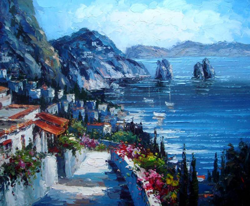SANTORINI GREEK ISLAND MEDITERRANEAN OIL PAINTING