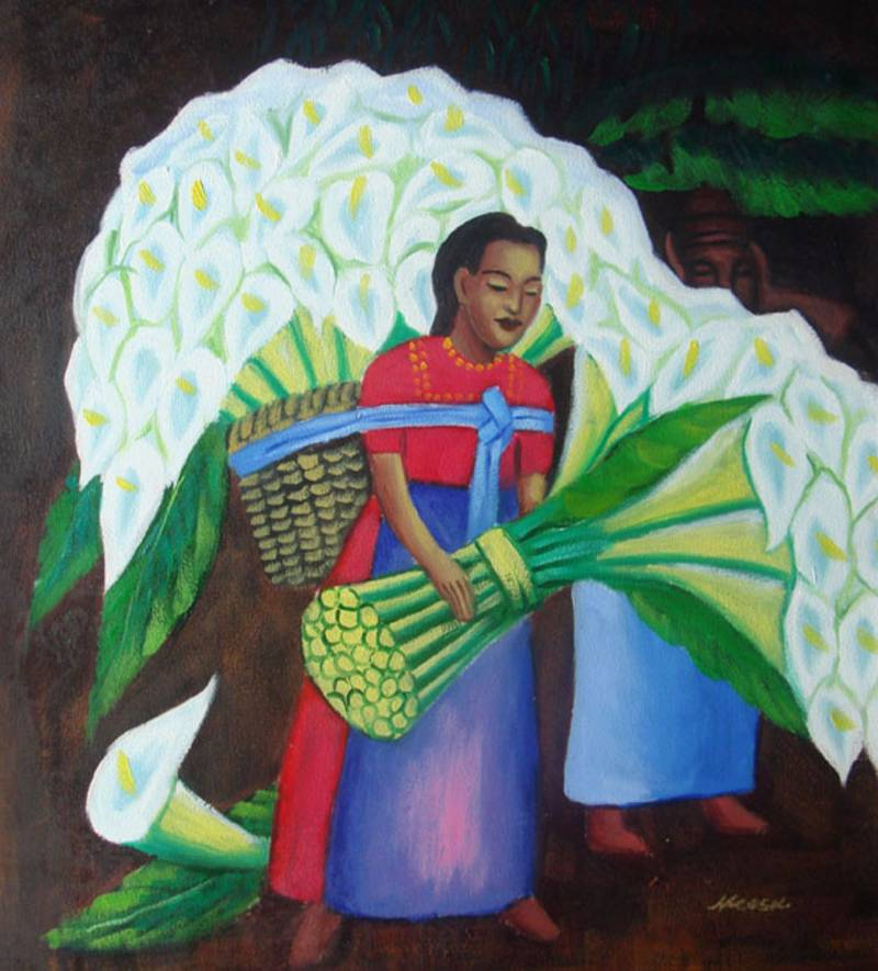 FLOWER VENDOR MEXICAN ART DIEGO RIVERA OIL PAINTING