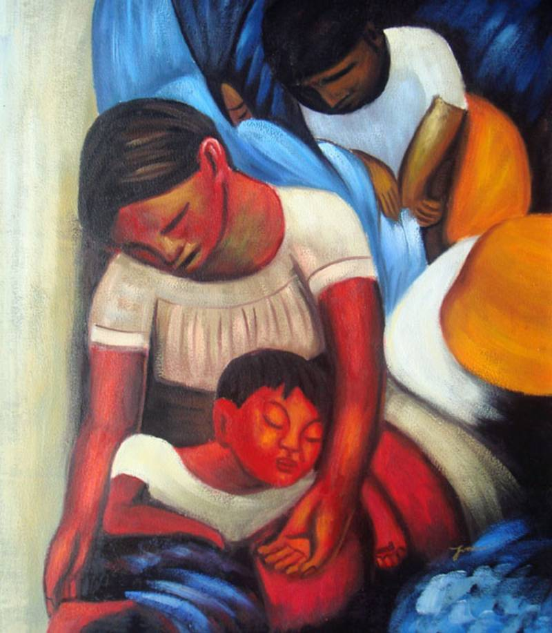 MEXICAN FAMILY DIEGO RIVERA RPERO OIL PAINTING