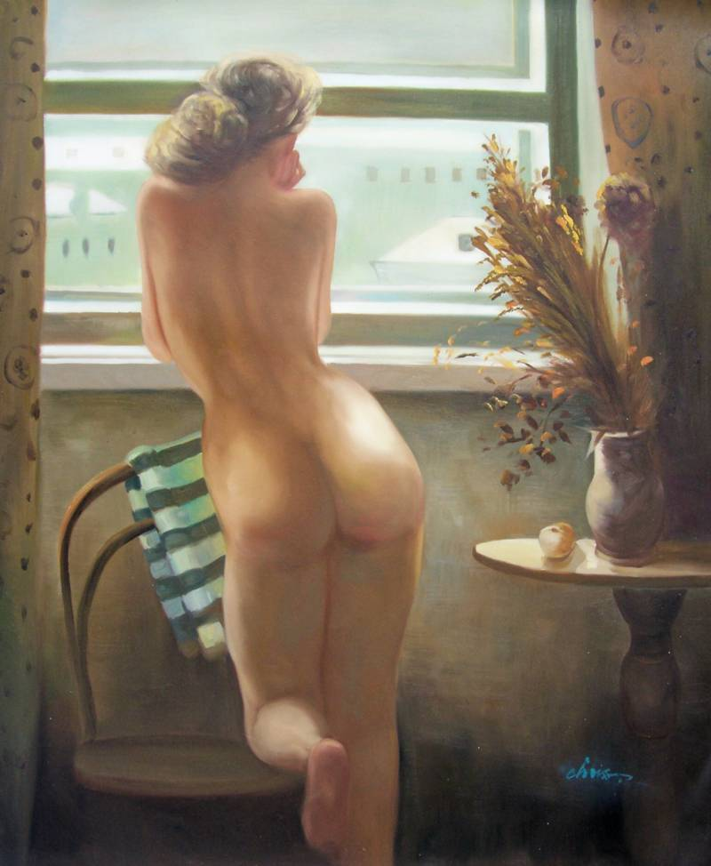 CLASSIC EUROPEAN NUDE BLONDE WOMAN PORTRAIT OIL PAINTING