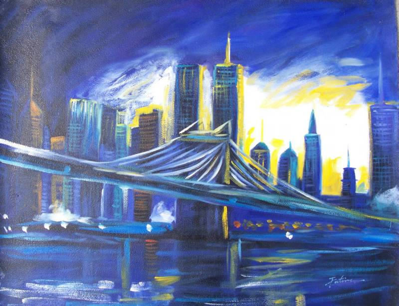 THE BLUE NEW YOUR CITY CITYSCAPE MODERN OIL PAINTING