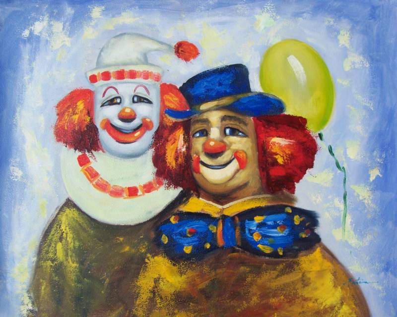 HAPPY CLOWNS MODERN OIL PAINTING