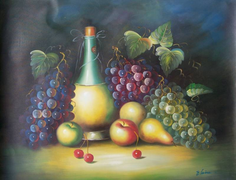 EUROPEAN ART STILL LIFE FRUITS WINE BOTTLE OIL PAINTING