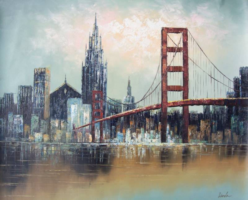 SAN FRANCISCO GOLDEN GATE BRIDGE OIL PAINTING