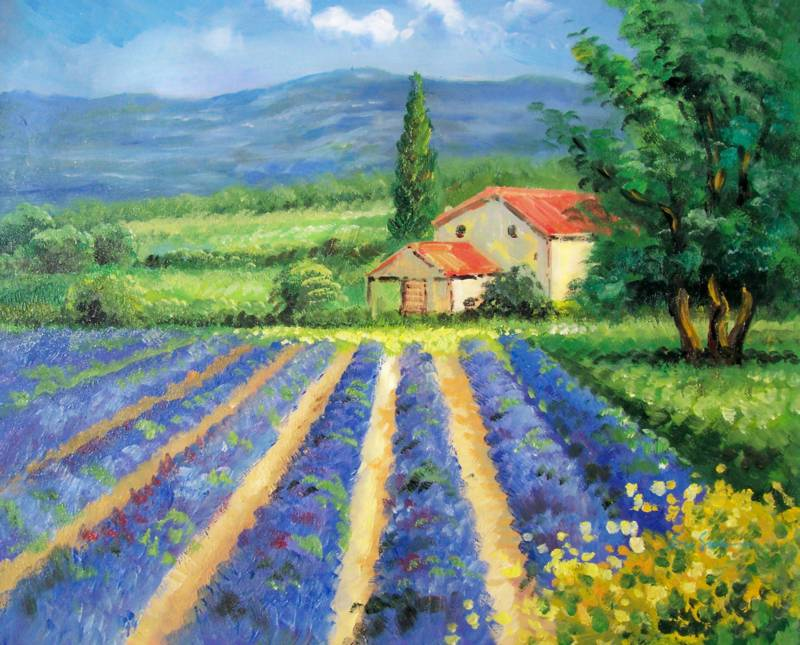 FIELDS OF TUSCANY ITALY LANDSCAPE OIL PAINTING