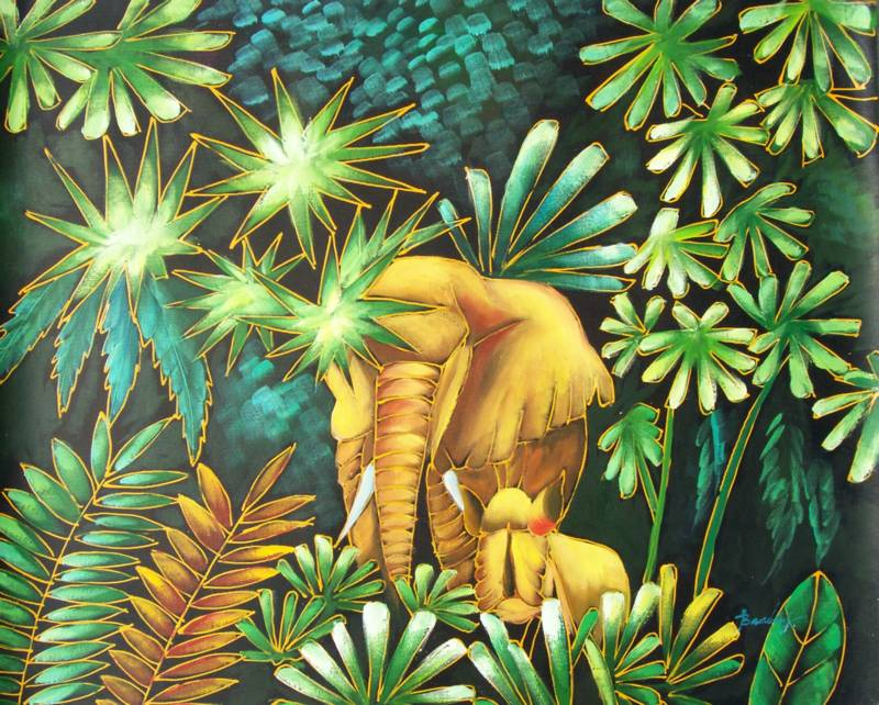 JUNGLE ELEPHANTS KLIMT STYLE  OIL PAINTING