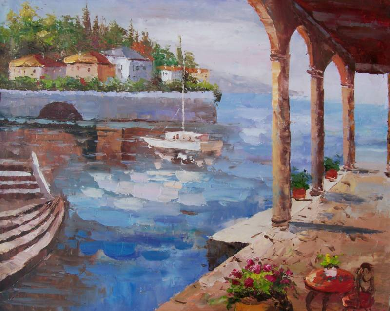 SUNNY BAY MEDITERRANEAN STYLE OIL PAINTING
