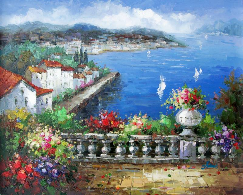 MY GREEK GARDEN MEDITERRANEAN STYLE OIL PAINTING