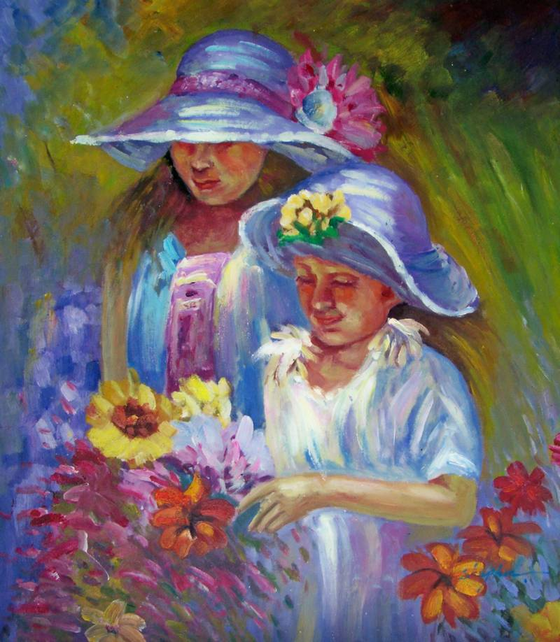 MONET STYLE FLOWER PICKING DAY OIL PAINTING