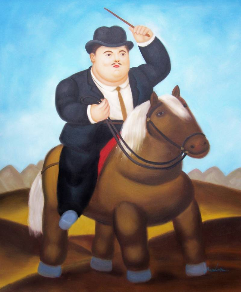 COLOMBIAN ART FERNANDO BOTERO FAT RIDER OIL PAINTING