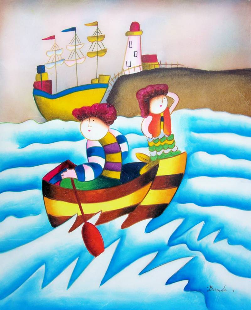 CHILDREN'S ART DAY AT SEA ROYBAL REPRO OIL PAINTING