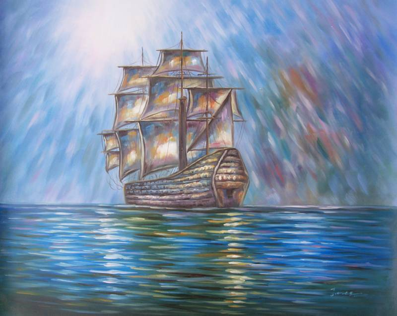 MYSTERY SHIP HAND PAINTED OIL PAINTING