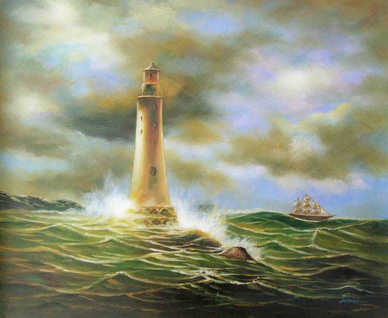 LIGHTHOUSE IN THE STORM SEASCAPE OIL PAINTING