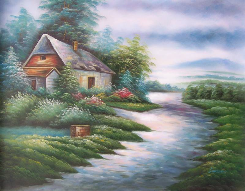 ENGLISH COTTAGE NATURESCENE OIL PAINTING