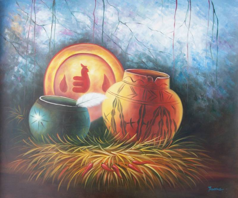 NATIVE AMERICAN POTTERY  OIL PAINTING