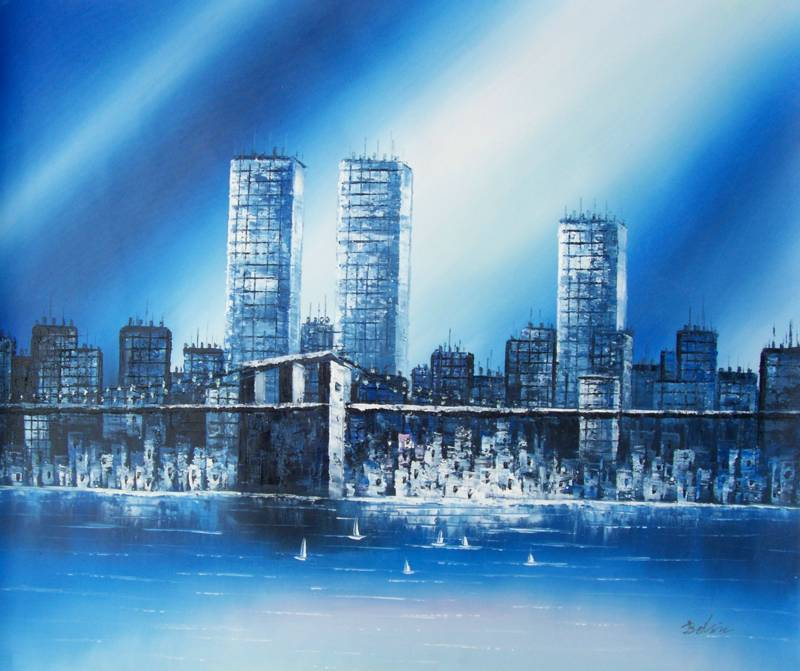 TWIN TOWERS BLACK AND WHITE NEW YORK CITY OIL PAINTING