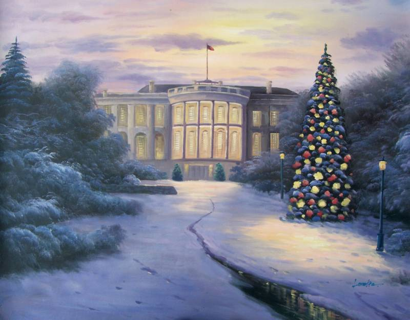SNOWY CHRISTMAS WHITE HOUSE OIL PAINTING