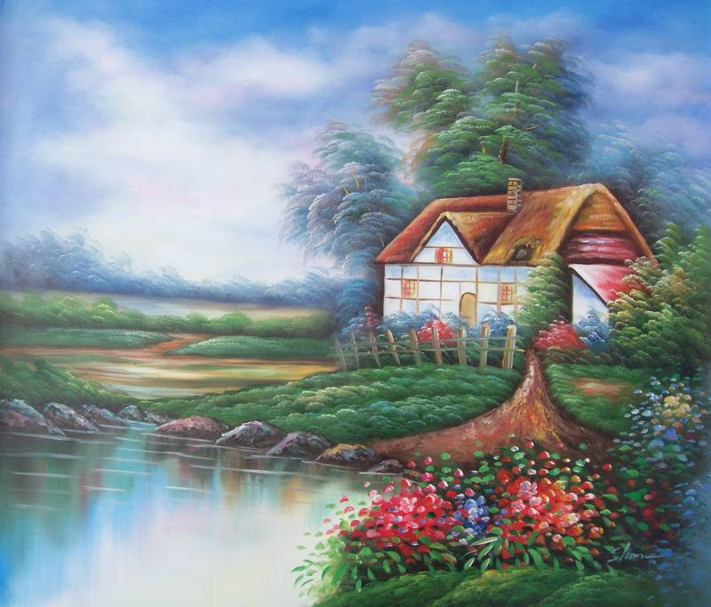 ENGLISH COTTAGE BY STREAM OIL PAINTING