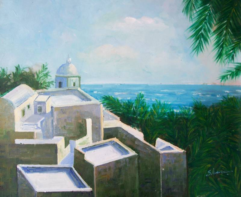 ROOFS OF GREECE MEDITERRANEAN OIL PAINTING
