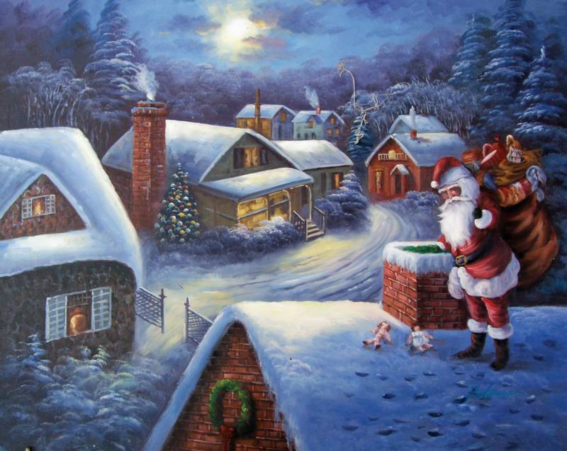 SANTA ON THE ROOF CHRISTMAS SNOWSCAPE OIL PAINTING