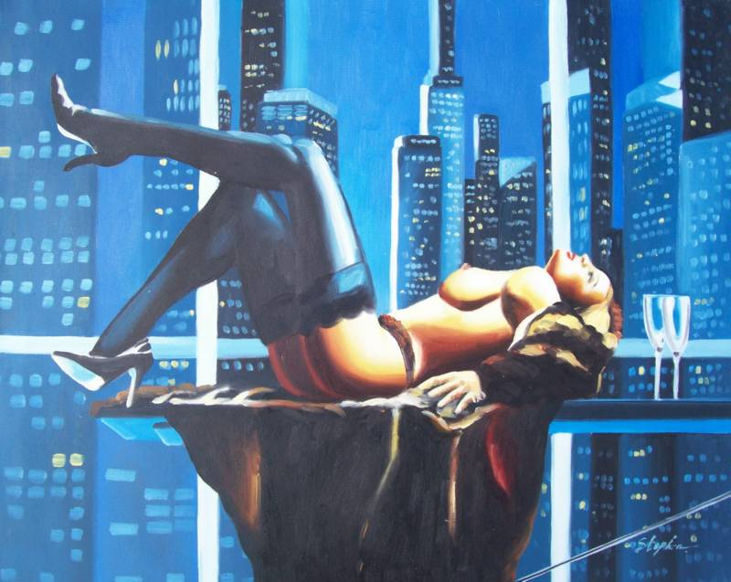 NAKED IN NEW YORK BEAUTIFUL NUDE OIL PAINTING