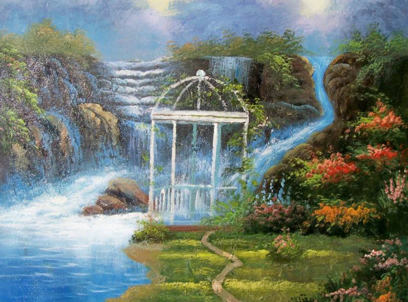 AMERICAN LANDSCAPE HEAVENLY WATERFALL OIL PAINTING