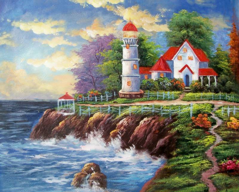 AMERICAN SEASCAPE CABIN LIGHTHOUSE OIL PAINTING