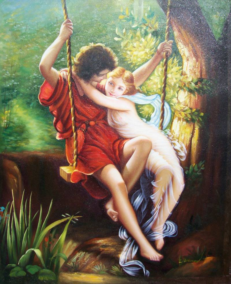DA VINCI REPRO'  THE SWING YOUNG LOVERS OIL PAINTING