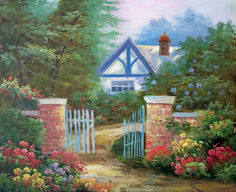 GARDEN OF PEACE AMERICAN NATURE LANDSACPE OIL PAINTING