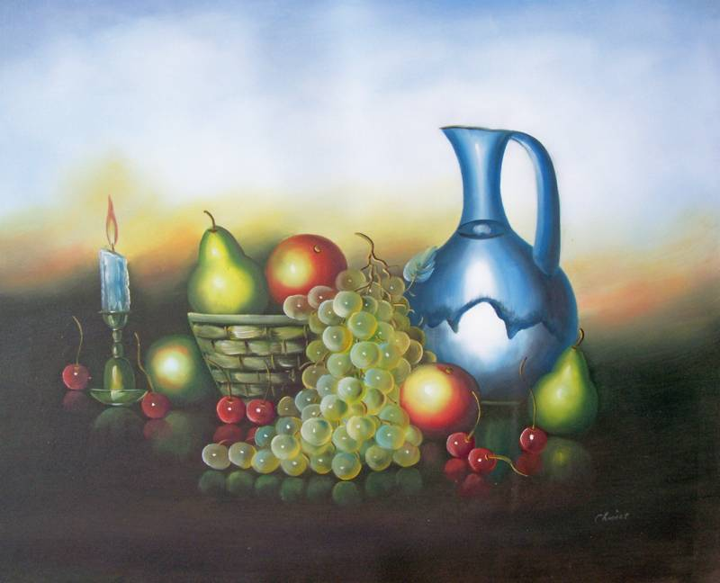 CLASSIC FRUIT CANDLE STILL LIFE OIL PAINTING