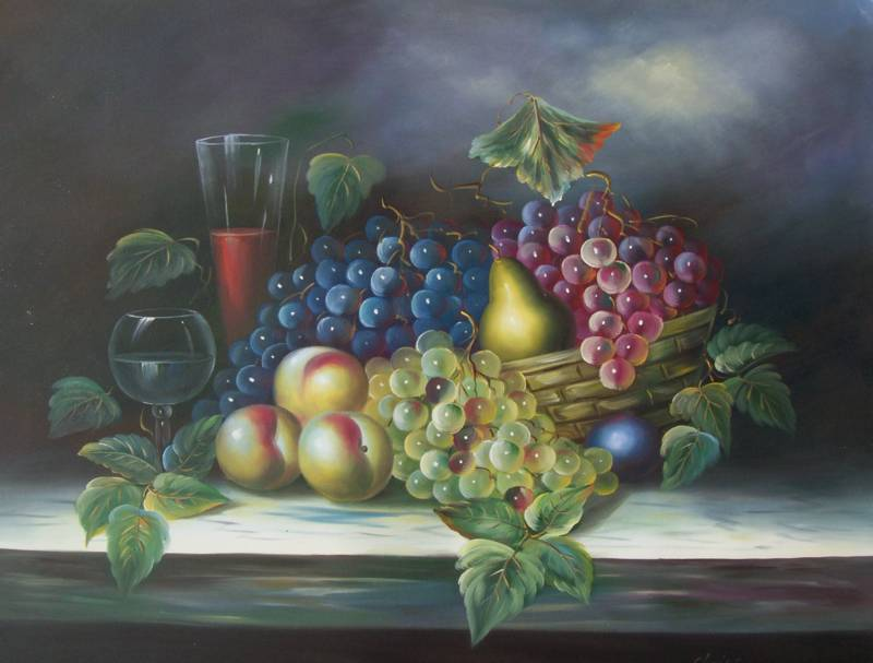 CLASSIC FRUIT WINE GLASS STILL LIFE OIL PAINTING