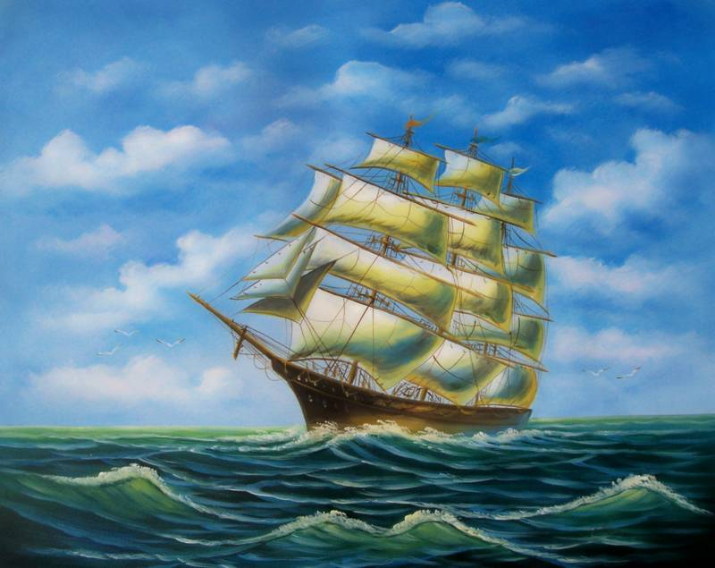 CLIPPER SHIP SANTA MARIA COLOMBUS DISCOVERING AMERICA PAINTING
